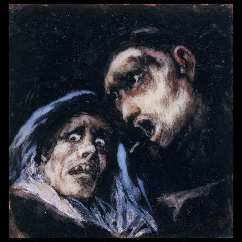 Francisco Goya, Monk Talking to an Old Woman (1824-1825)