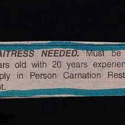 Waitress needed