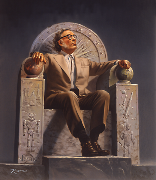 Isaac Asimov on Throne