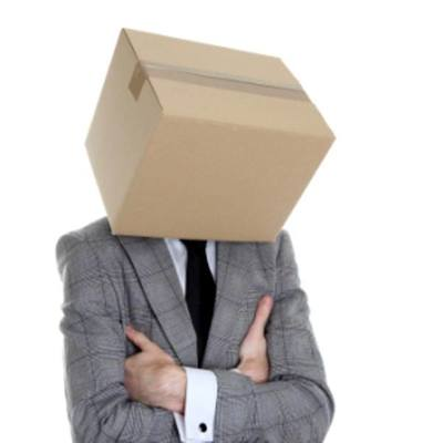 Man with box on his head